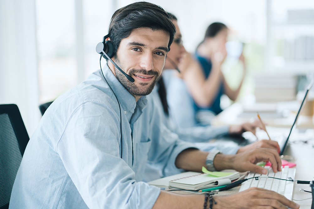 Service Team Concept. Operator or Contact Center Sale in Office,